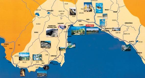 خريطة انطاليا السياحية