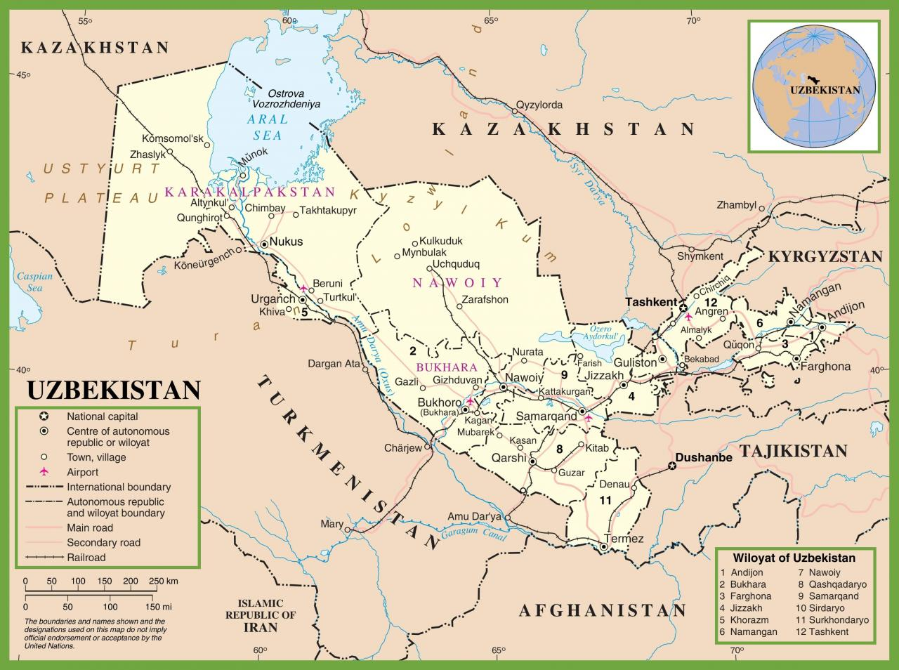 خريطة أوزبكستان باللغة الإنجليزية