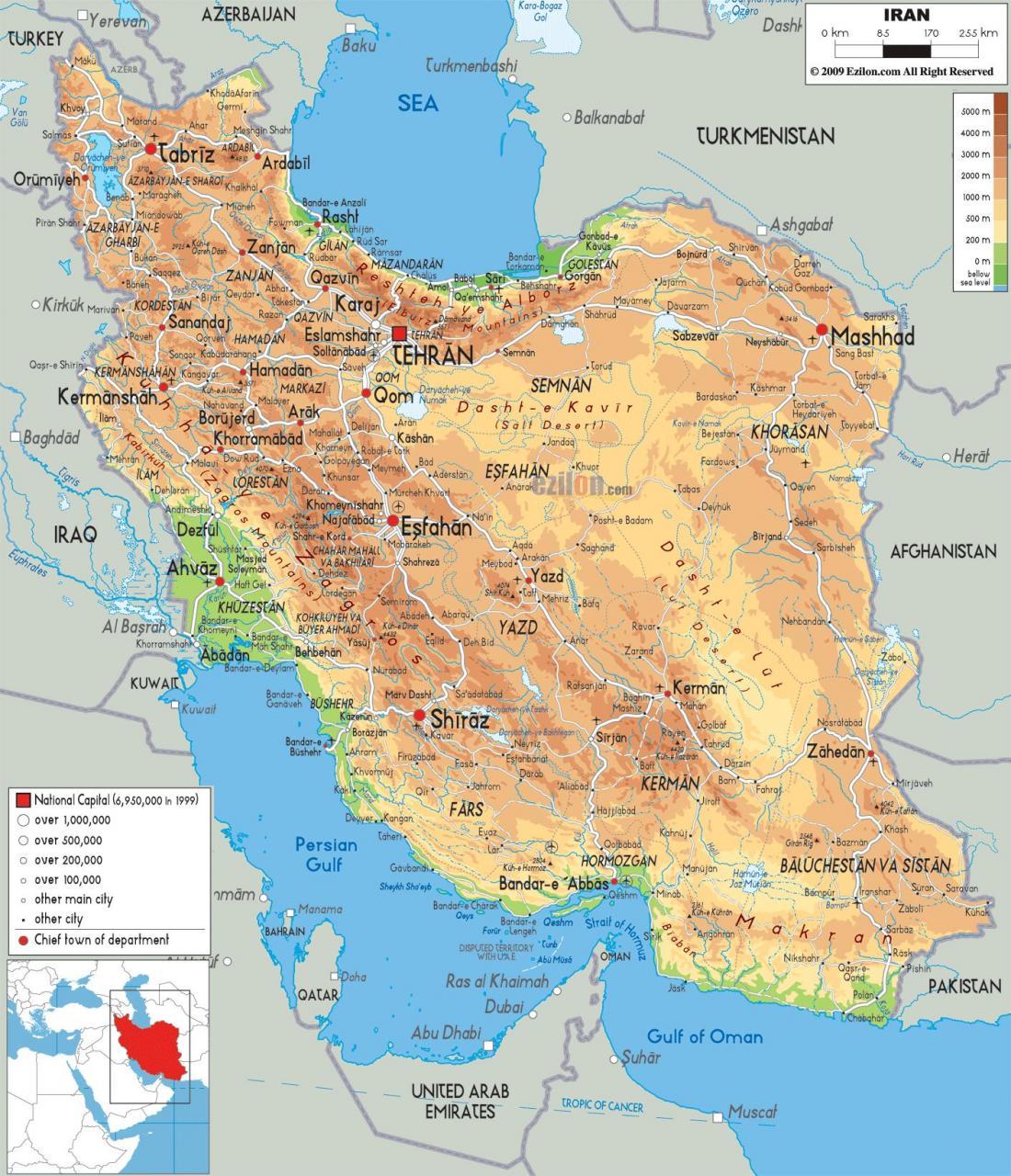 خريطة إيران جولة