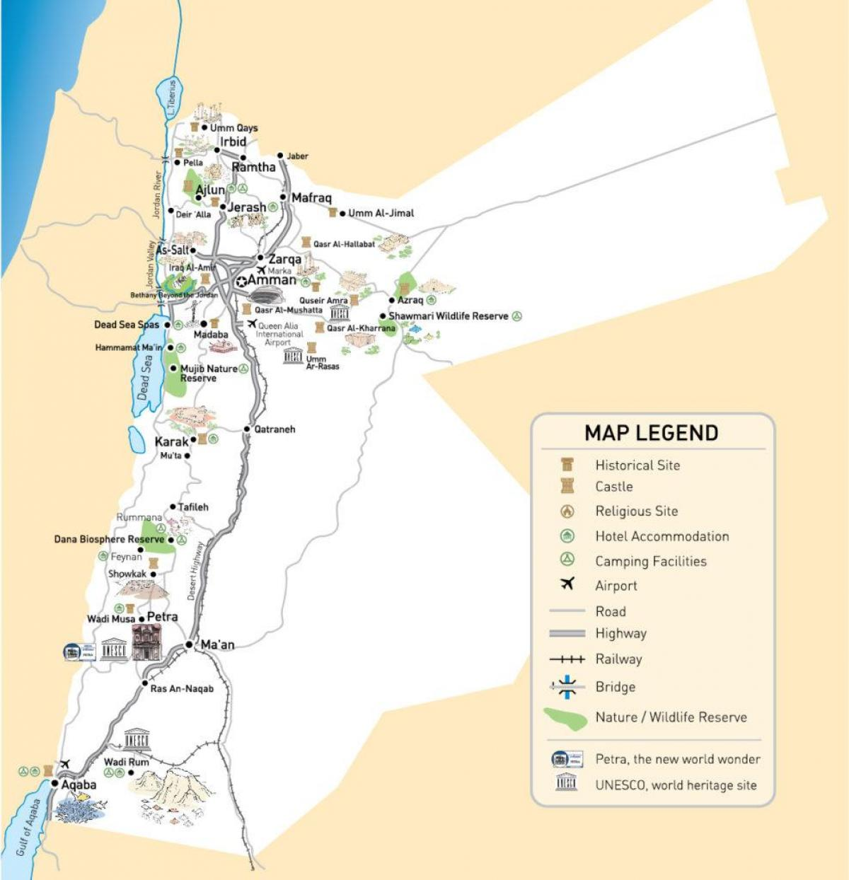 خريطة الأردن و مطاراتها باللغة الإنجليزية