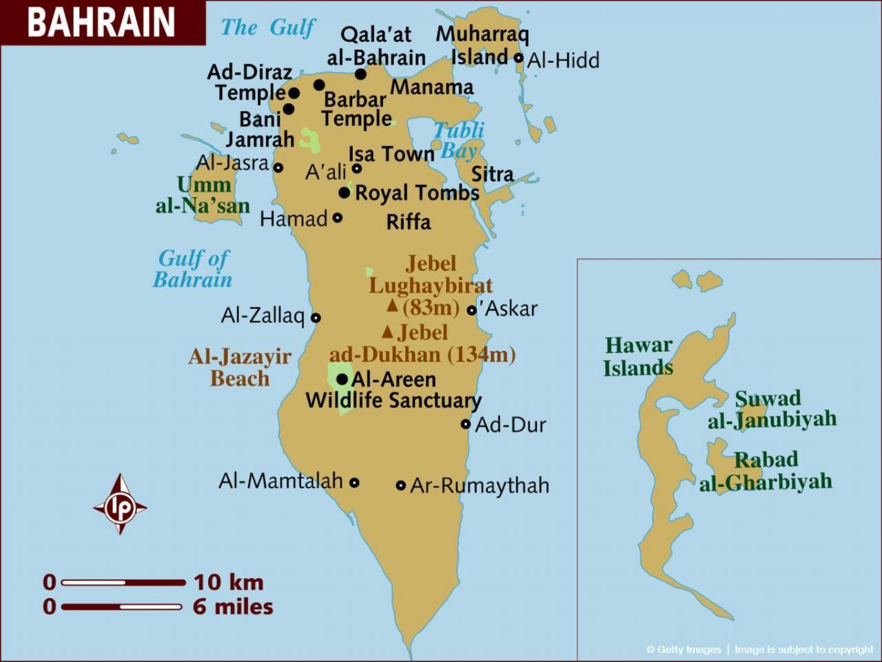 خريطة البحرين باللغة الإنجليزية