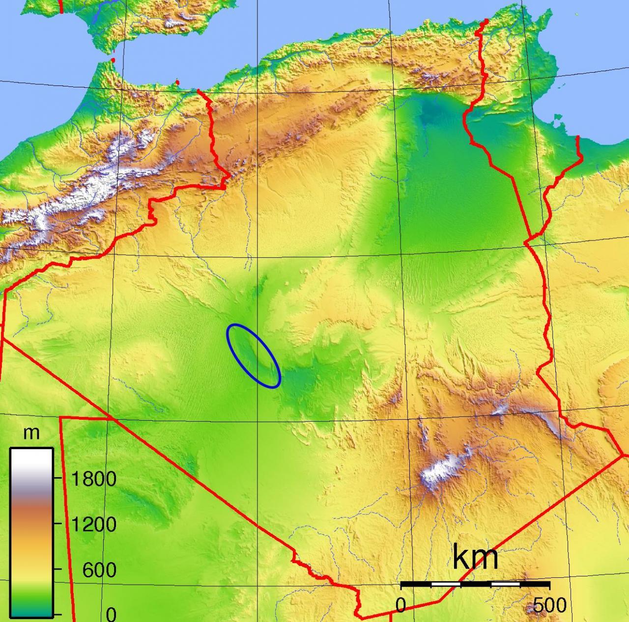 خريطة الجزائر الطبيعية