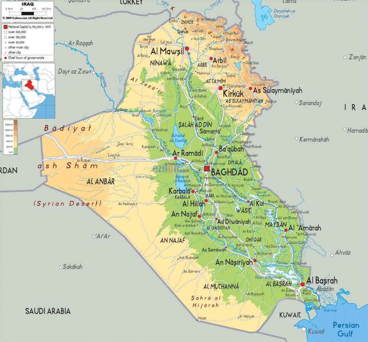 خريطة العراق الجُغرافية
