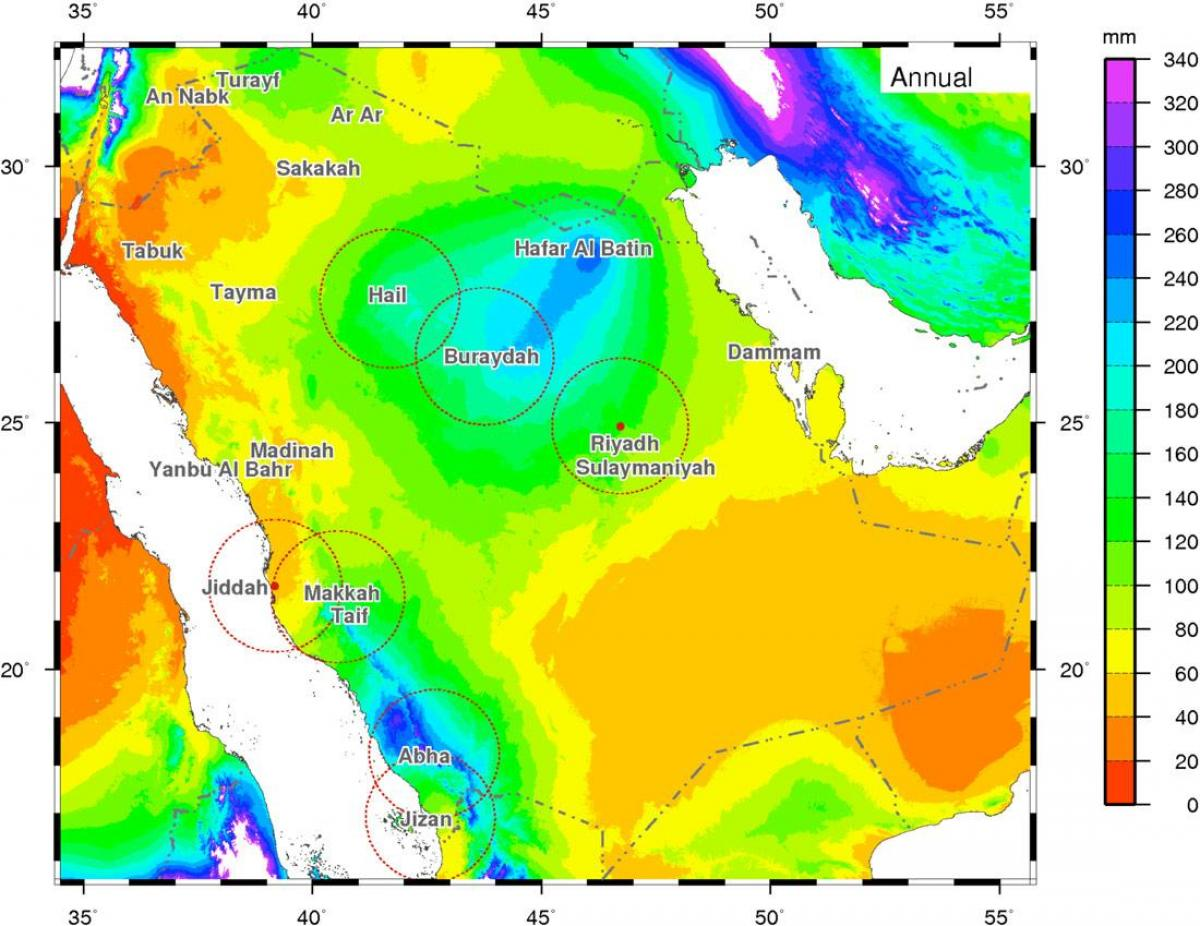خريطة السعودية المناخية