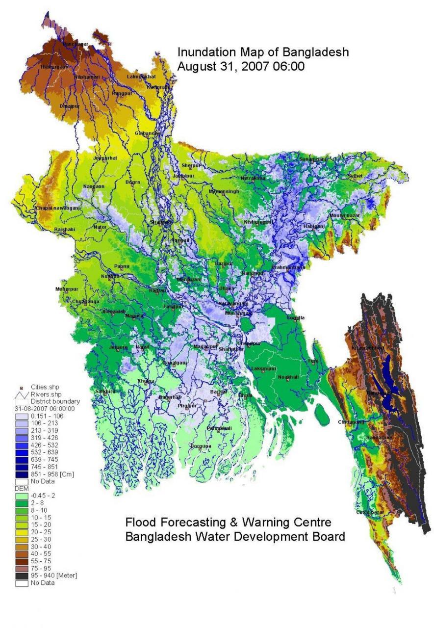 خريطة بنغلاديش الطبيعية
