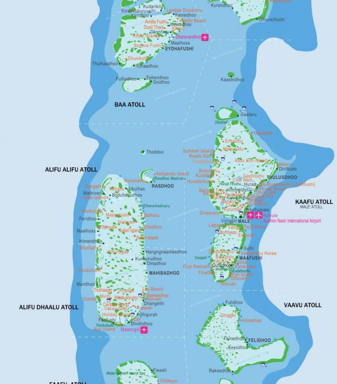 خريطة مطارات المالديف