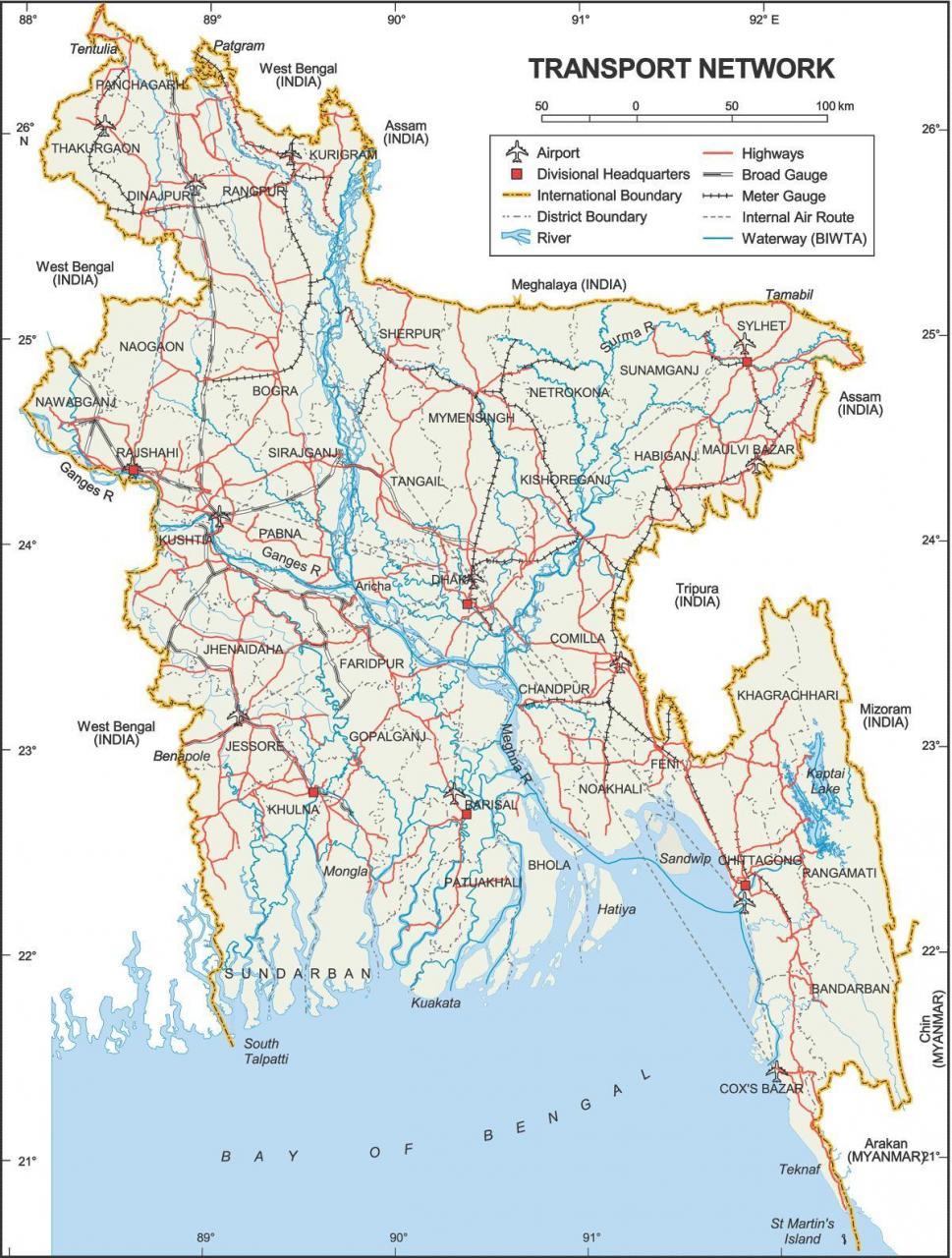 خريطة بنغلاديش السياحية