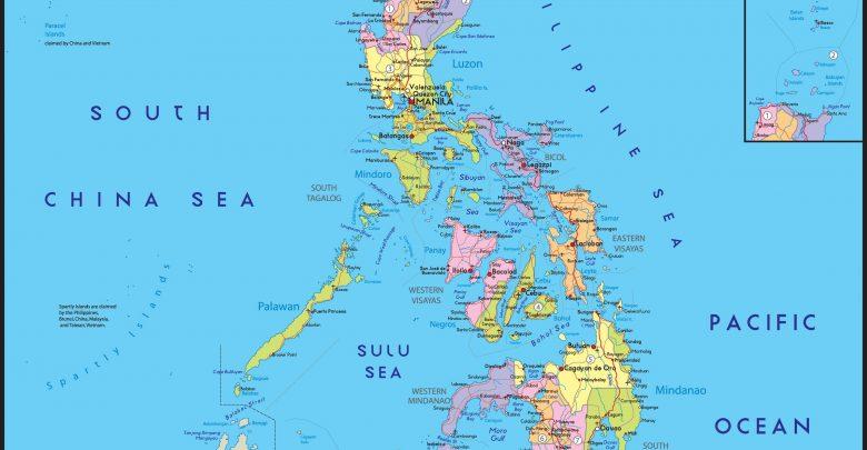 خريطة الفلبين و الدول المجاورة