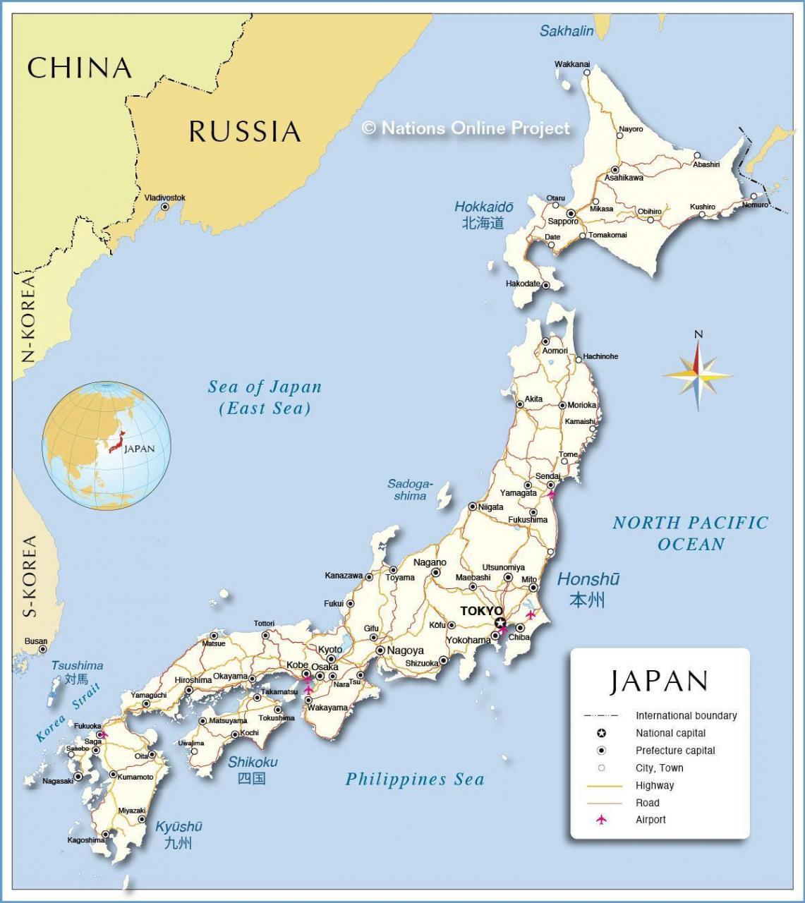 خريطة اليابان بالانجليزي