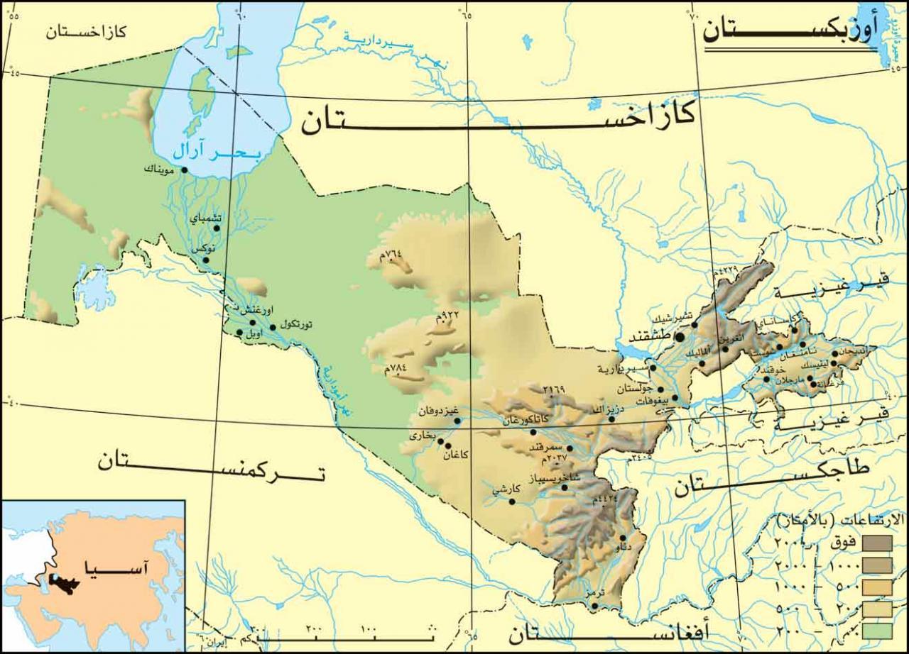خريطة أوزبكستان الطبيعية