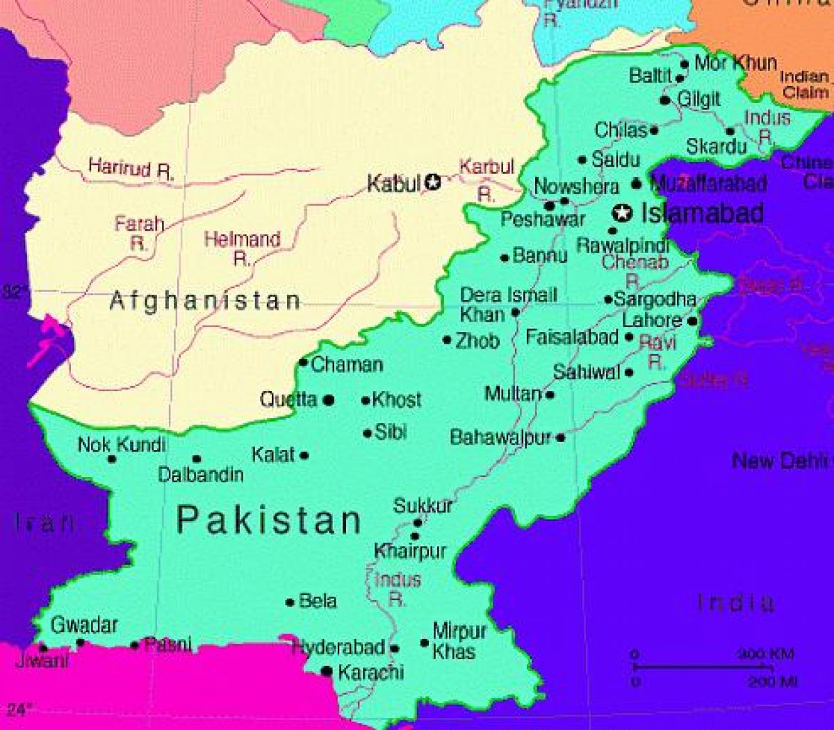 خريطة باكستان بالانجليزي