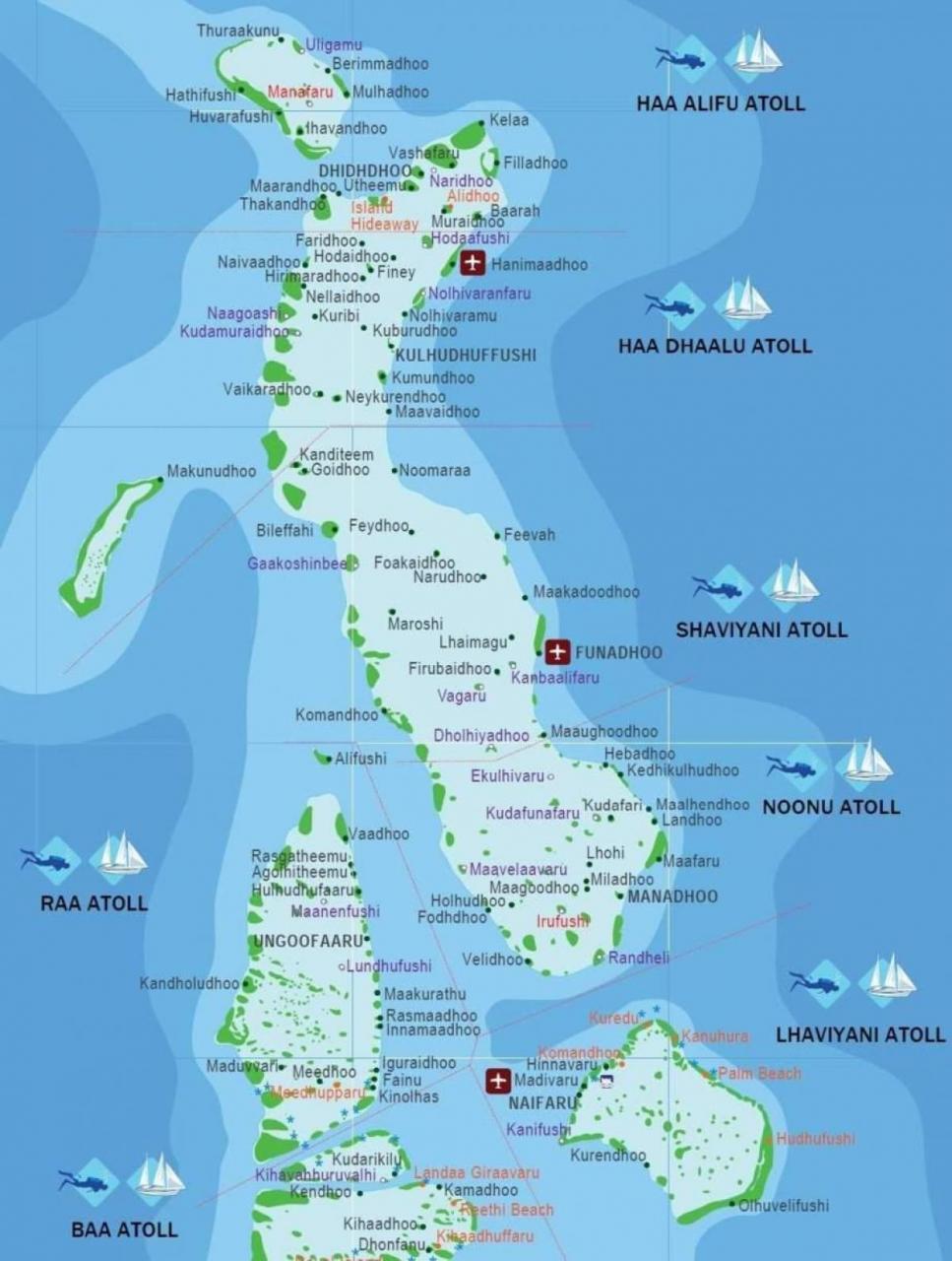 خريطة جُزر المالديف باللغة الإنجليزية
