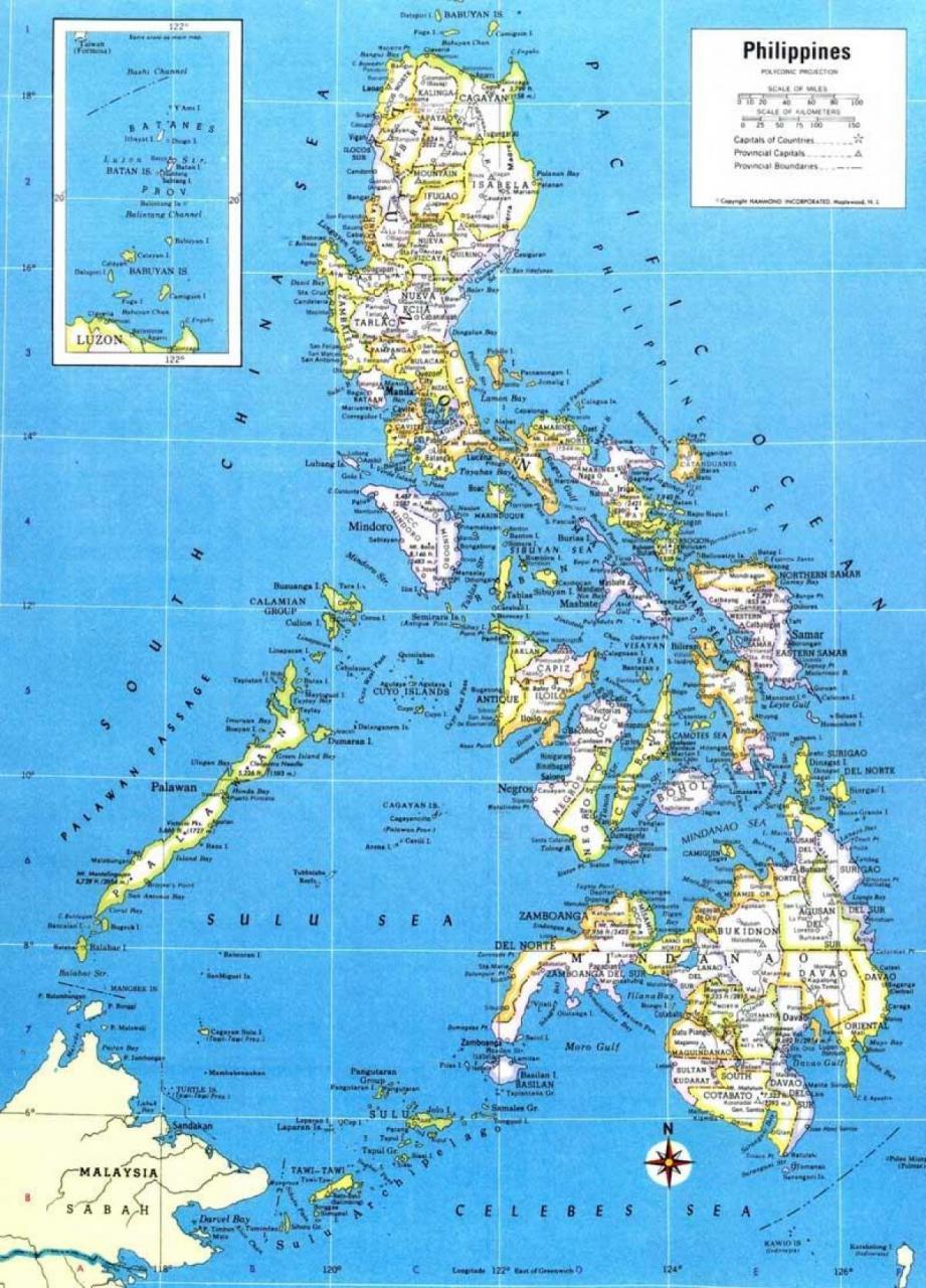 خريطة الفلبين باللغة الإنجليزية
