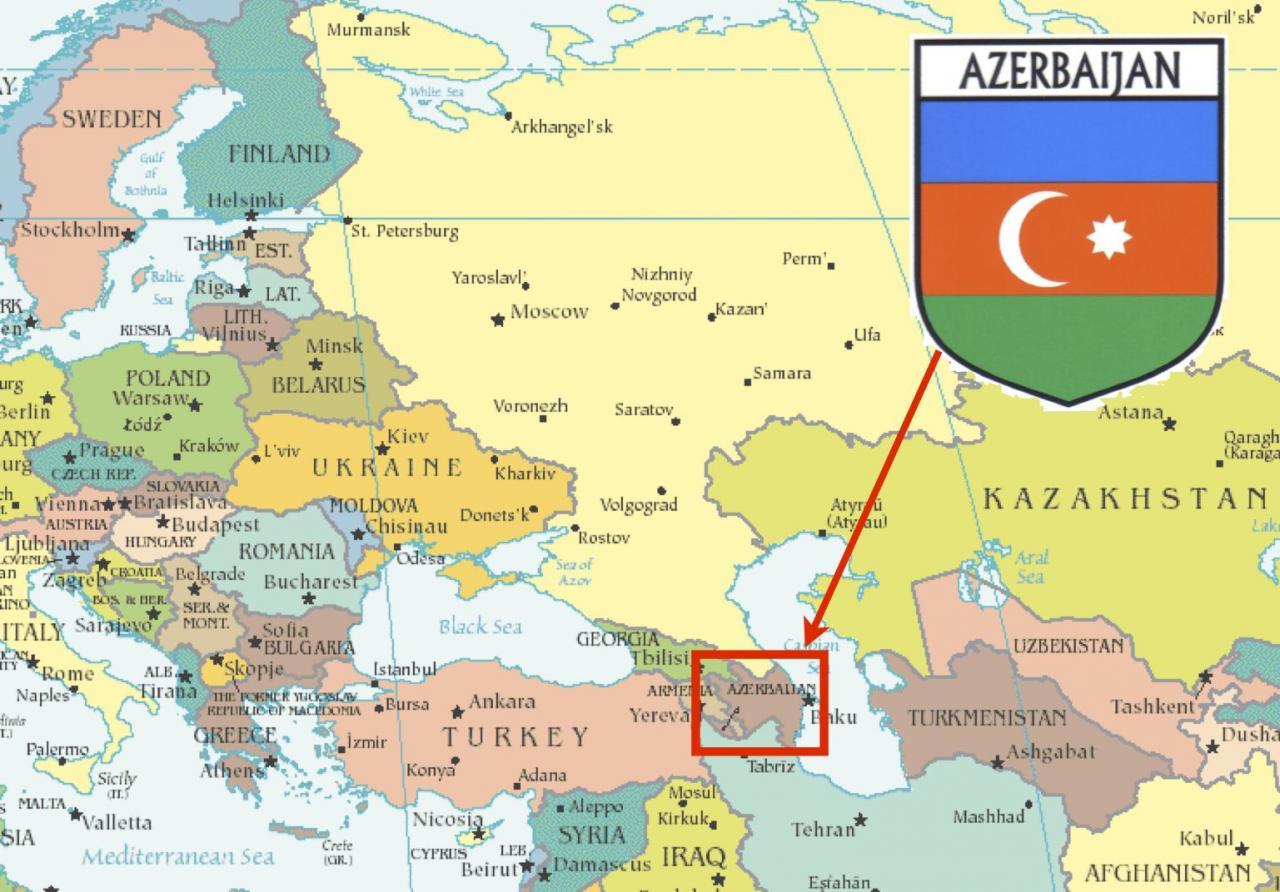 خريطة اذربيجان و حدودها
