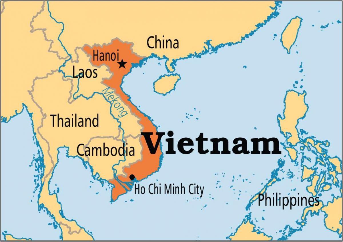 خريطة فيتنام و الدول المجاورة