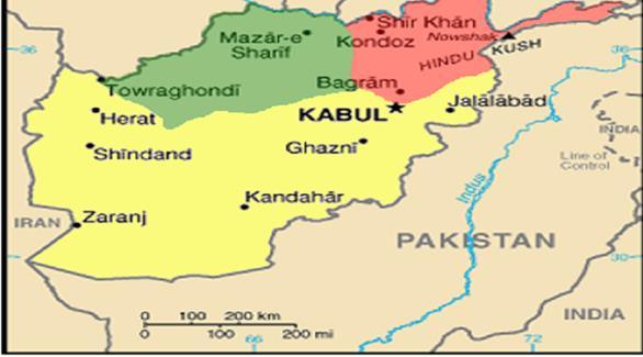 خريطة أفغانستان باللغة الإنجليزية