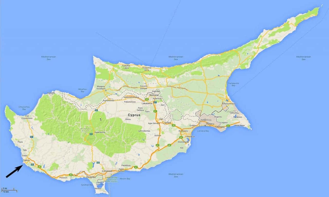 خريطة قبرص الطبيعية