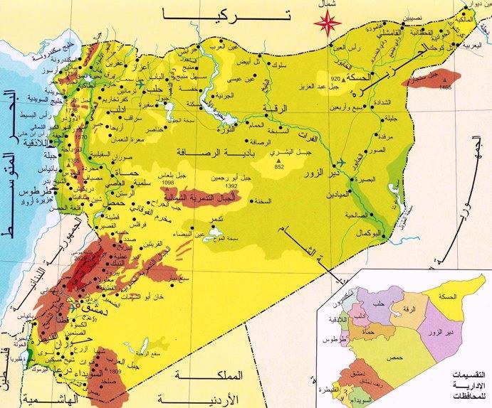 خريطة سوريا الطبيعية