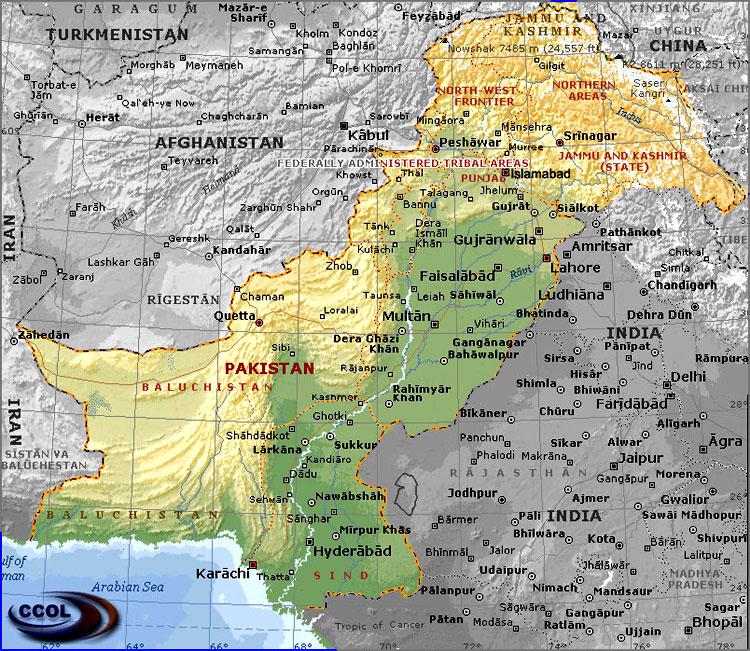 خريطة باكستان الجُغرافية