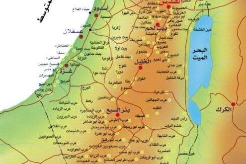 الخريطة الطبيعية لفلسطين