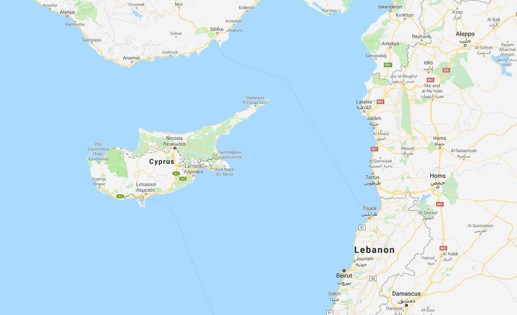 خريطة قبرص و حدودها