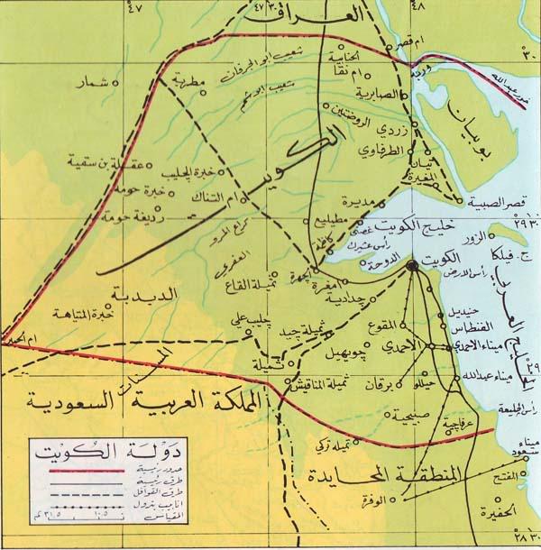 خريطة الكويت البرية