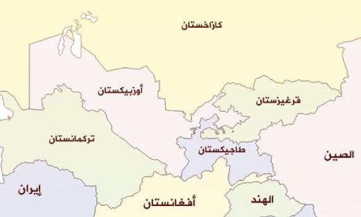 خريطة أوزبكستان الحدودية بالعربي