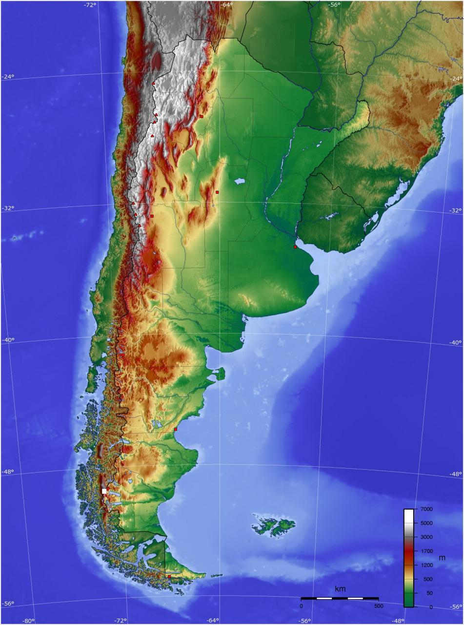 خريطة الأرجنتين الطبيعية بدقة عالية