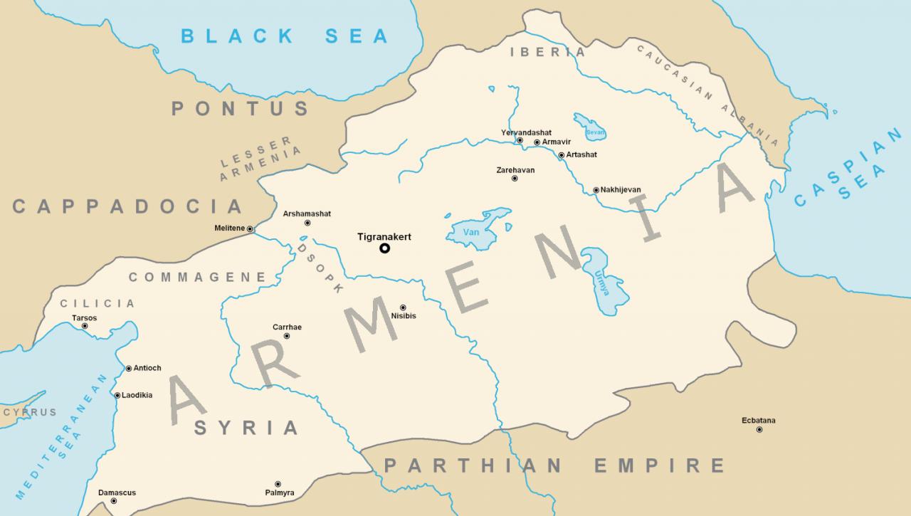 خريطة مملكة أرمينيا القديمة