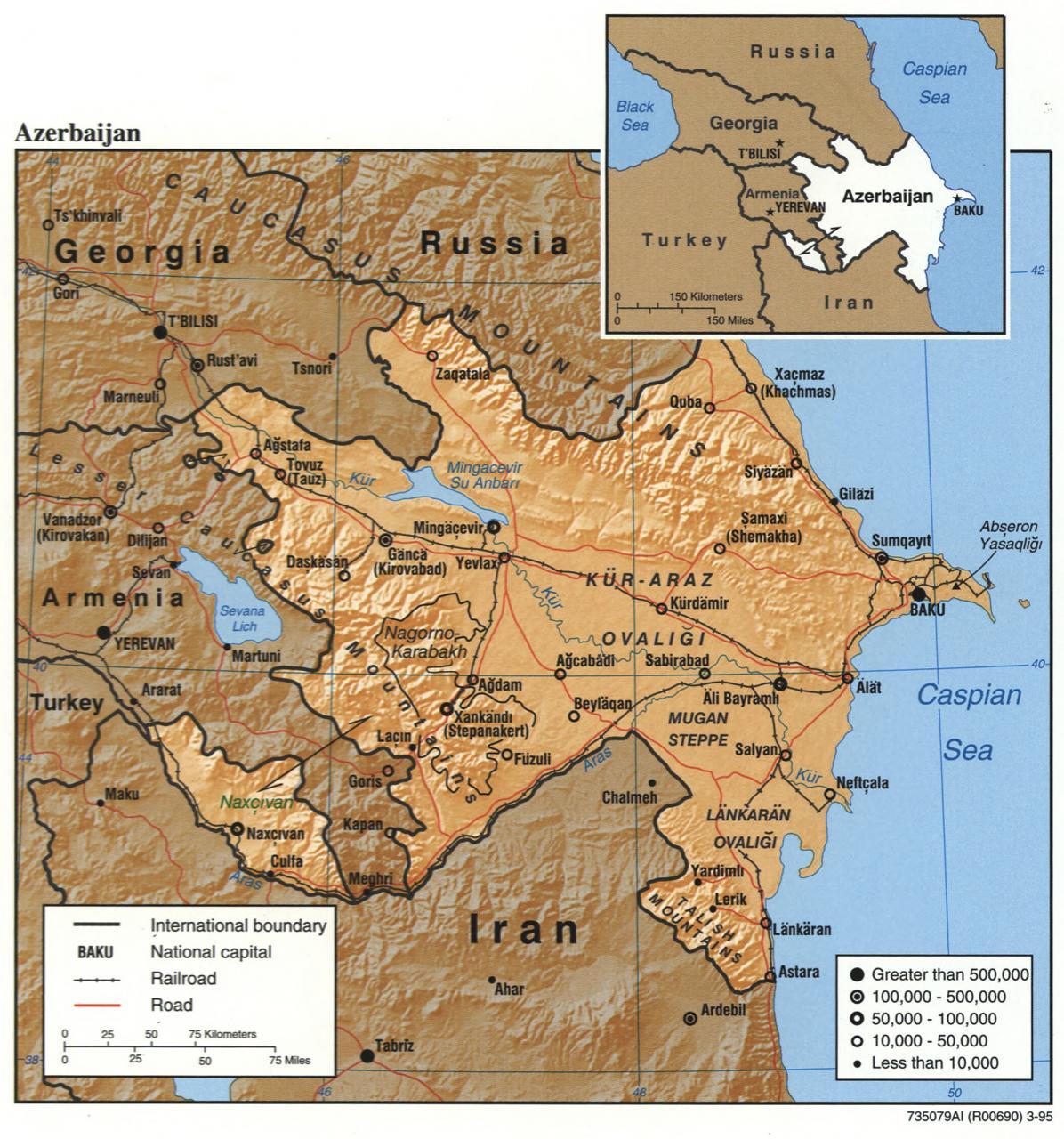 خريطة اذربيجان السكانية