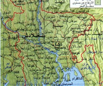 خريطة بنغلاديش بالعربي