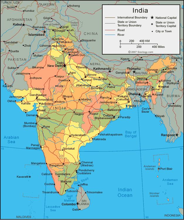 خريطة الهند السياسية و الإدارية