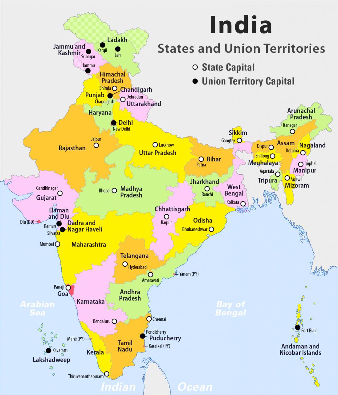 خريطة الهند بالانجليزي