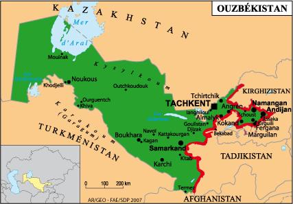 خريطة أوزبكستان رسم