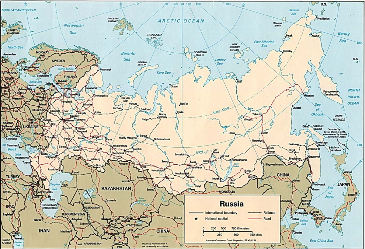 خريطة روسيا التفصيلية