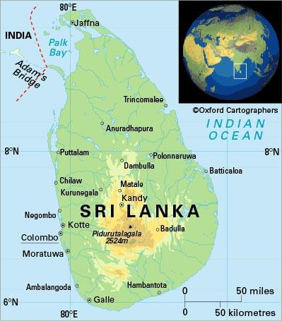 خريطة سريلانكا الجُغرافية