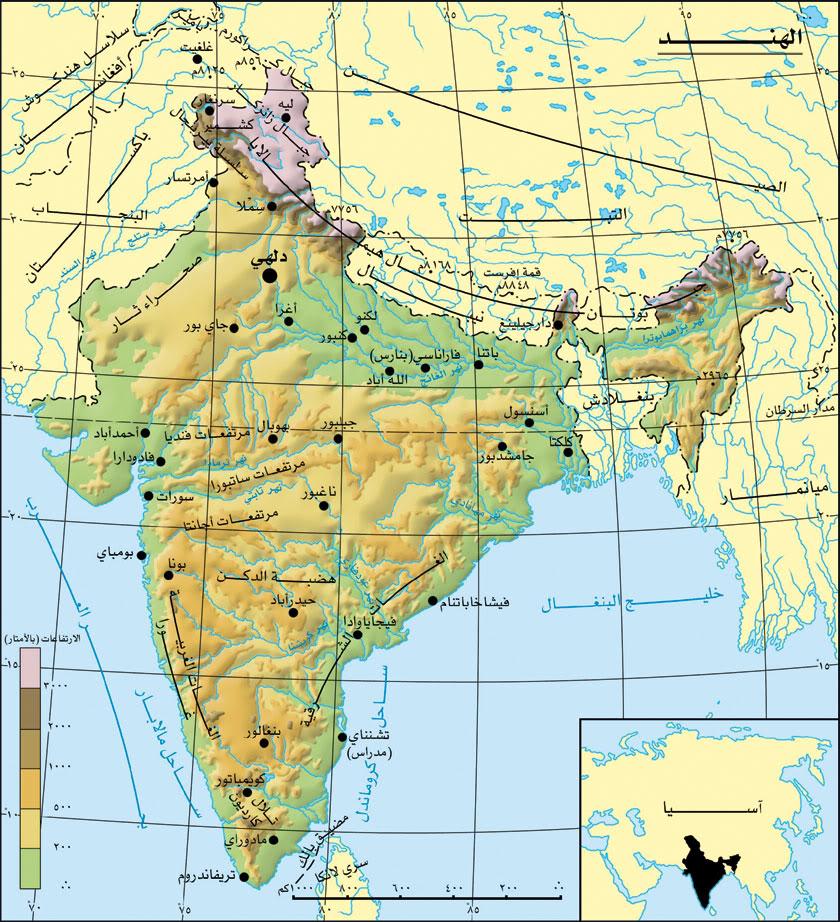 خريطة الهند بالتفصيل بالعربي