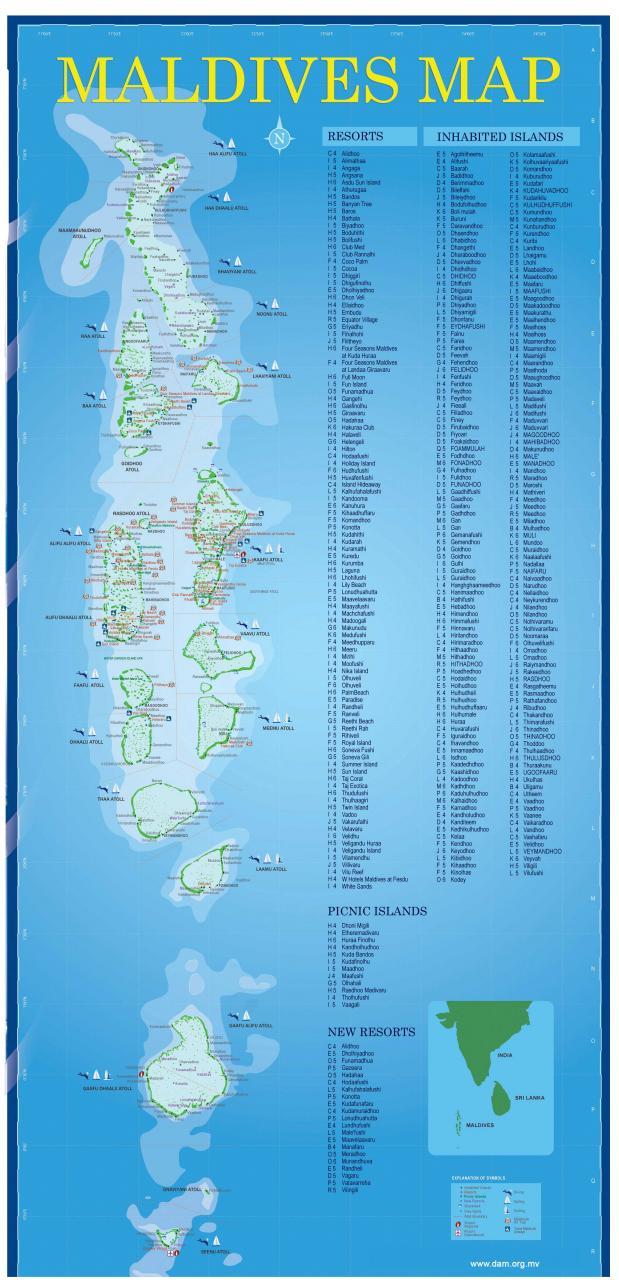 خريطة المالديف السياحية