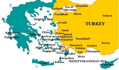 خريطة قبرص و تركيا و اليونان