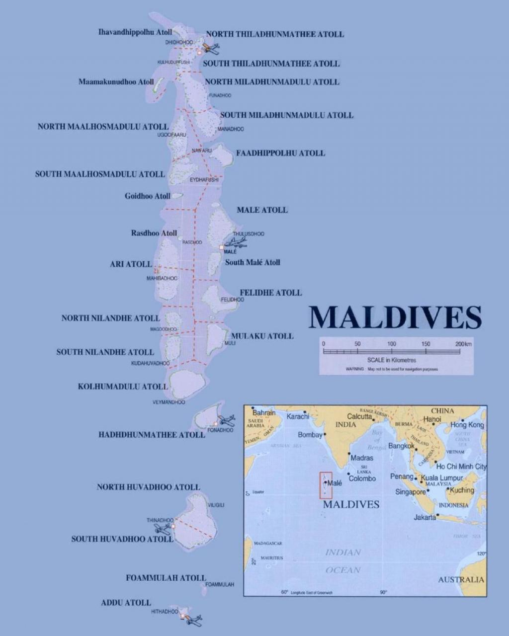 خريطة المالديف التفصيلية