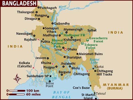 خريطة بنغلاديش بالانجليزي