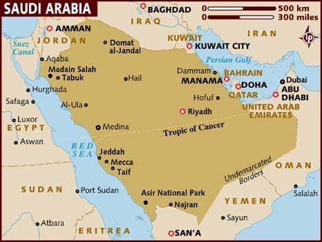 خريطة السعودية بالانجليزي