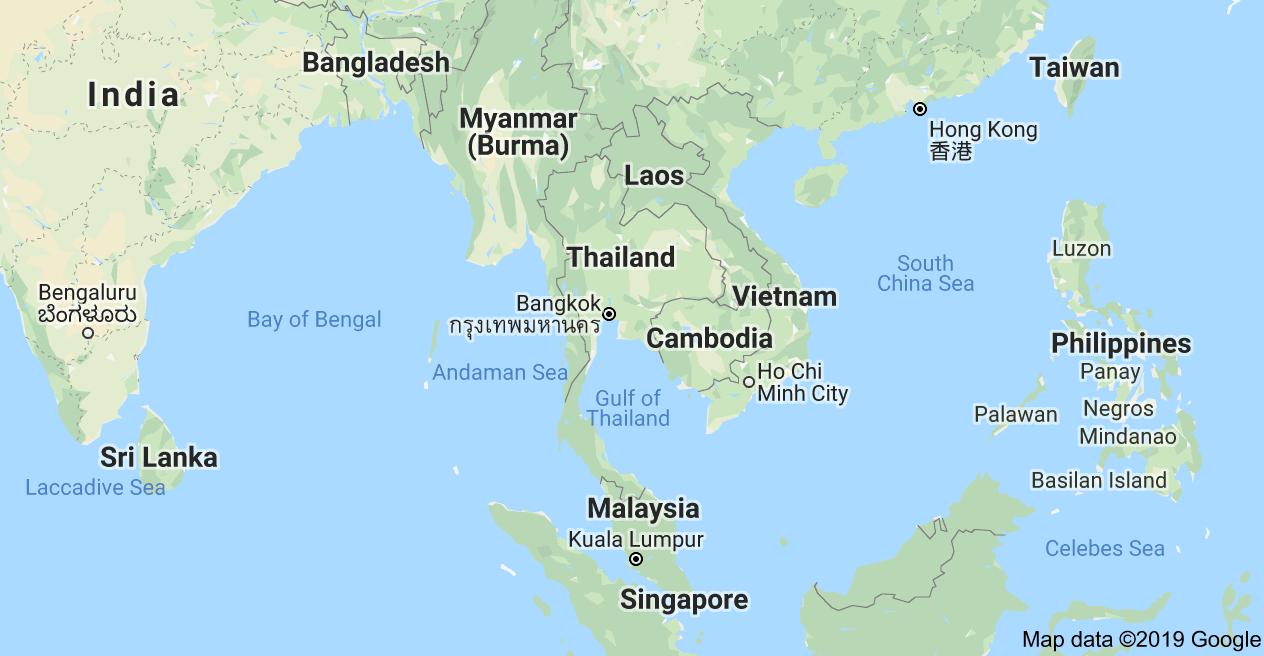 خريطة تايلاند على خريطة العالم