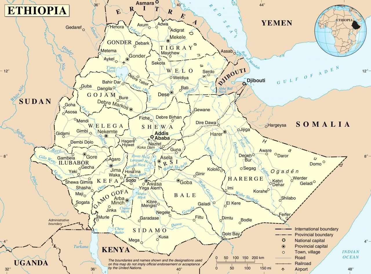 خريطة أثيوبيا بالانجليزي