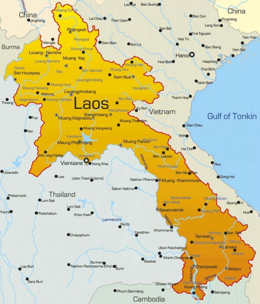 خريطة لاوس بالانجليزي