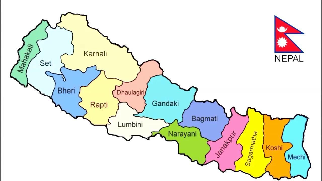 خريطة نيبال بالانجليزي