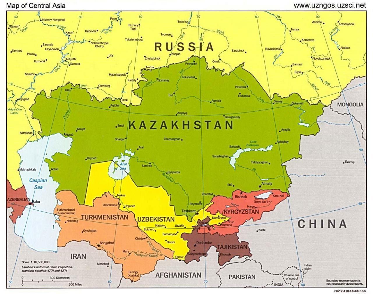 خريطة كازاخستان بالانجليزي