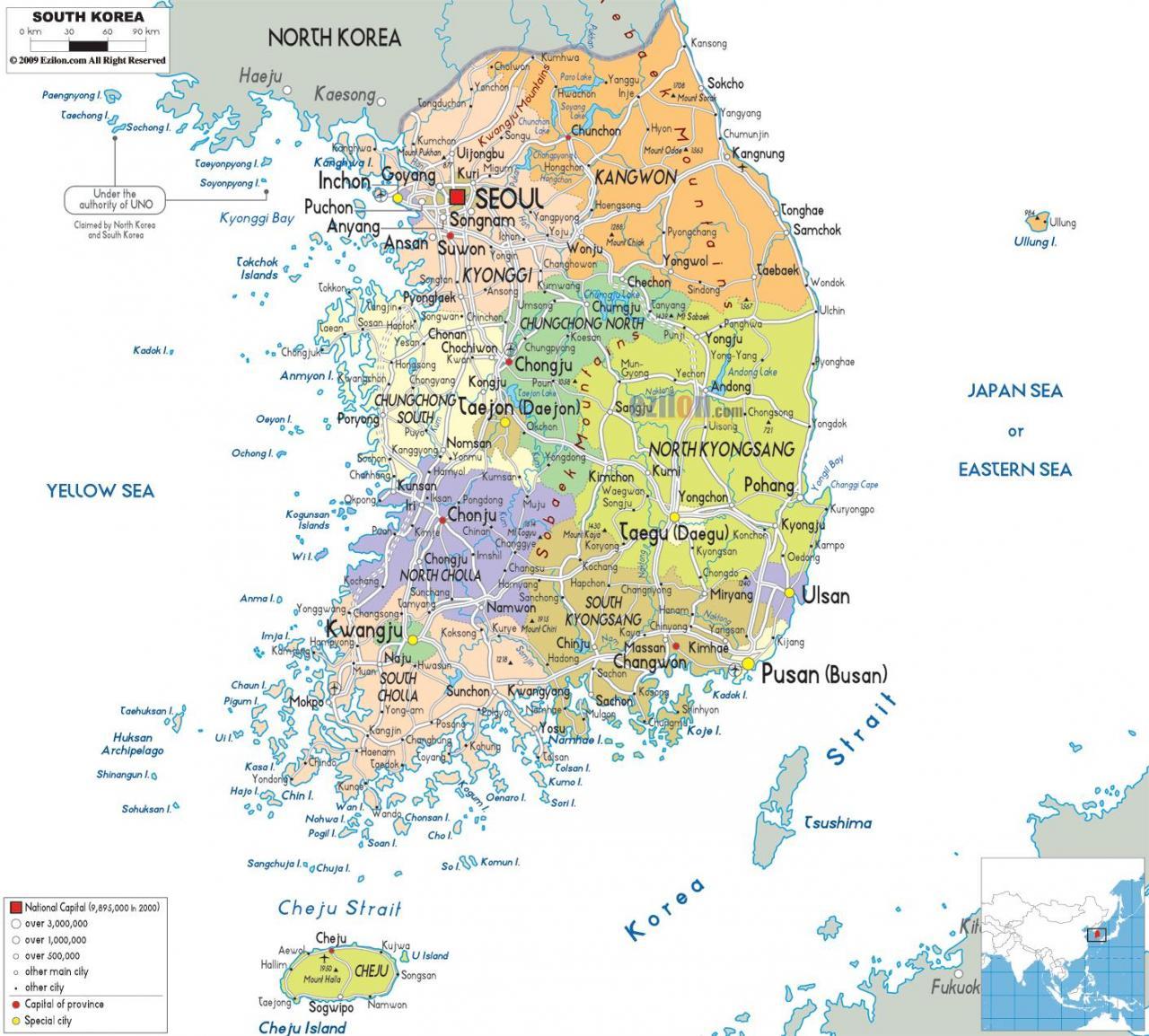 خريطة كوريا الجنوبية السُكانية