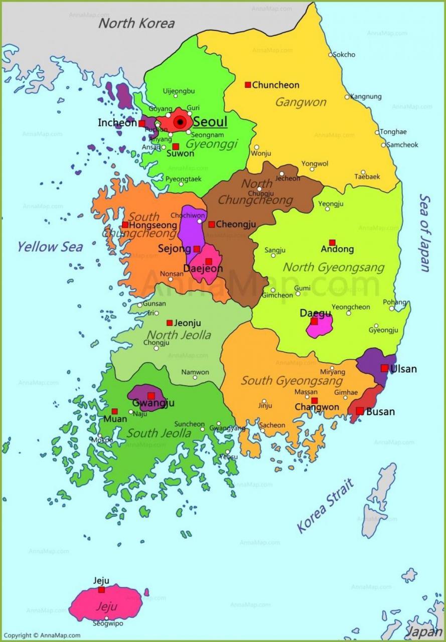 خريطة كوريا الجنوبية الإدارية