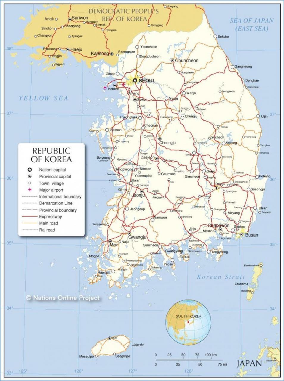 خريطة كوريا الجنوبية التفصيلية